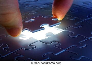 è, puzzle, giù, posto, venuta, pezzo