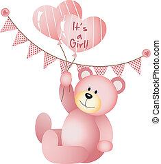 è, ragazza, orso, teddy