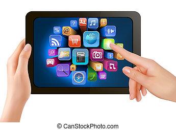 è, schermo, icons., mano, pc, toccante, vettore, cuscinetto, dito, presa a terra, tocco