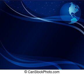 -, 10, fondo, astratto, scuro, eps, globo blu