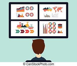 -, analisi, vettore, informazioni, controllo, statistica, illustrazione, dashboard.
