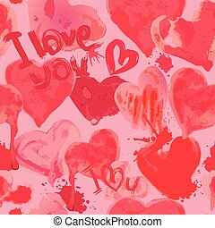 -, aquarelle, modello, valentines, cuori, grunge, amore, parole, lei, giorno, seamless, fondo.