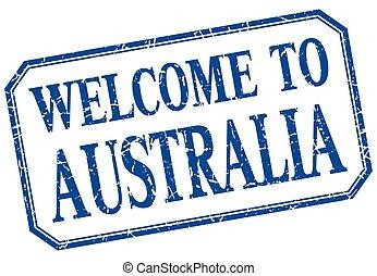 -, australia, isolato, benvenuto, vendemmia, etichetta, blu