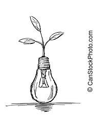 -, bulbo, luce, illustrazione, vettore, crescente, pianta