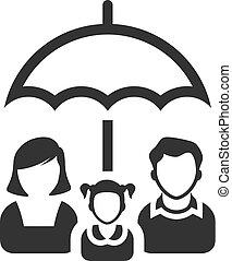 -, bw, ombrello, famiglia, icone