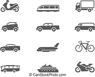 -, bw, trasporto, icone