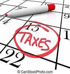 -, calendario, tassa, giorno, circondato