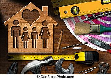 -, casa casa, miglioramento, lavoro, concetto, attrezzi