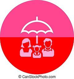 -, cerchio, ombrello, famiglia, icona
