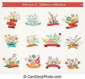 -, collezione, vettore, illustrazioni, fiori, nastri