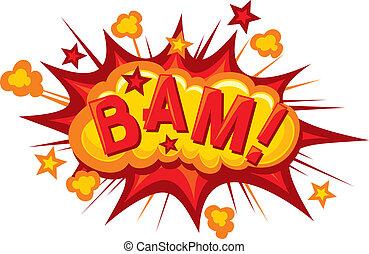 -, (comic, bam, explosion), cartone animato