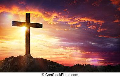 -, crocifissione, croce, tramonto, cristo, gesù