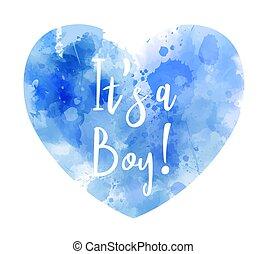 -, cuore, acquarello, rivelare, è, ragazzo, genere, concetto