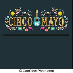 -, de, bandiera, maggio, disegno, mexico., vacanza, 5, federale, mayo, fiesta, bandiere, cinco, manifesto