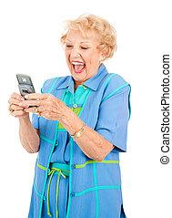 -, divertente, donna senior, messaggio, testo