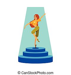 -, donna, palcoscenico, ballerino, ragazza, sotto, standing, cartone animato, ballo, riflettore, giovane