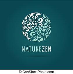 -, erbaceo, vettore, medicina, meditazione, yang, logotipo, zen, yin, icona, cinese, concetto, alternativa, wellness
