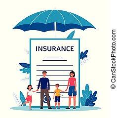 -, famiglia, contratto, documento, assicurazione, cartone animato, gigante, standing, persone