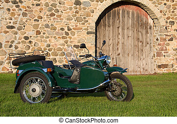 -, fondo, rustico, motocicletta, sidecar