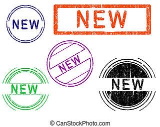-, francobolli, 5, grunge, nuovo