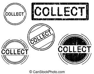 -, francobolli, 5, grunge, raccogliere