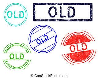 -, francobolli, 5, grunge, vecchio
