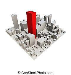 -, grattacielo, cityscape, modello, rosso, 3d