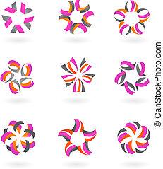 -, icone, logos, astratto, collezione, 2