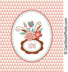 -, illustrazione, vettore, cornici, fiori, scheda