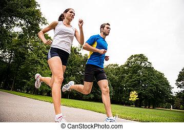 -, insieme, jogging, sport, coppia, giovane