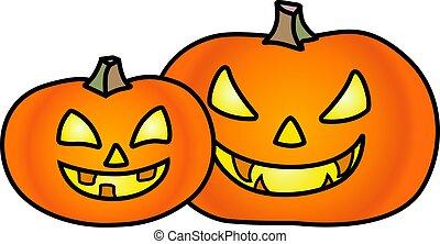 -, intagliato, facce, colorare, simbolo, illustration., lanterna, holiday., vettore, halloween, due, prints., zucche, cartelle, pieno, cricco