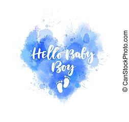 -, iscrizione, cuore, acquarello, dipinto, ciao, blu, ragazzo bambino