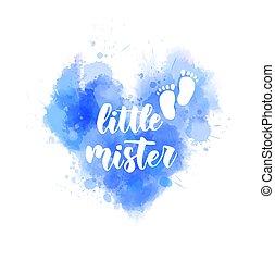 -, iscrizione, cuore, acquarello, poco, scritto mano, signore, blu