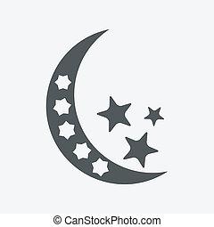 -, isolato, luna, vettore, stelle, notte, icona