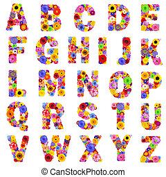 -, lettere, floreale, z, isolato, bianco, alfabeto, pieno