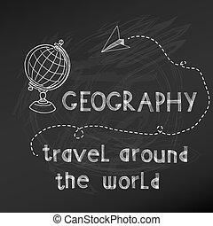 -, mano, asse, vettore, gesso, drawn-, scuola, indietro, segno, geografia