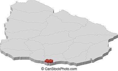 -, mappa, 3d-illustration, uruguay, montevideo