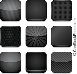 -, nero, app, icone
