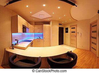 -, novembre, cucina, wroclaw, fatto, 17, condotto, 2019:, poland., privato, retroilluminato, vetro., appartamento, interno, arredamento, polonia, costume, lusso, moderno, rgb