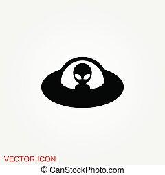 -, oggetto, vettore, ufo, piattino, icona, arte, volare, linea, non identificato, straniero