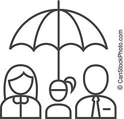 -, ombrello, contorno, famiglia, icona