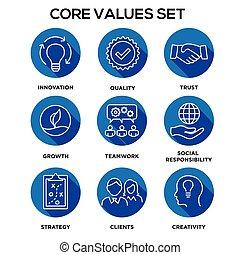-, passione, centro, o, integrità, visione, valori, onestà, missione, collaborazione, valore, scopo, set, icona, fuoco