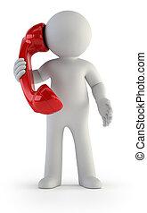 -, persone, conversazione, piccolo, telefono, 3d