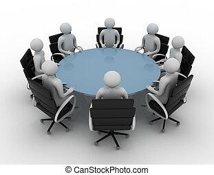 -, persone, rotondo, isolato, image., sessione, tavola., dietro, 3d