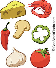 -, pomodoro, pizza, ingrediente, formaggio