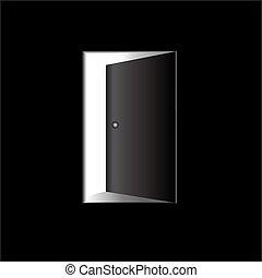 -, porta, illustrazione, aperto
