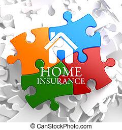 -, puzzle., multicolor, assicurazione casa, icona
