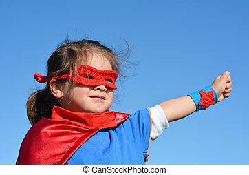 -, ragazza, bambino, superhero, potere