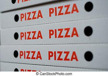 -, scatola pizza, vuoto, cartoni, scatole