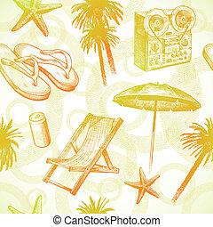 -, seamless, mano, tropicale, ricorso, vettore, fondo, disegnato, spiaggia